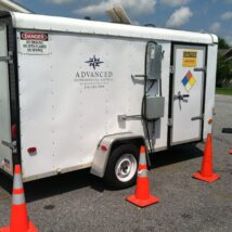 MMPE Trailer Atlantic Fluidics A-130, Seal water tank, knockout tank, XP Panel, wireless telemetry, heat exchanger, water sealed